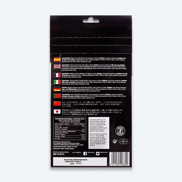 Reverso sobre de Salchichón de Bellota Ibérico Alta Expresión | Ibéricos COVAP